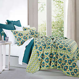 HiEnd Accents Salado Reversible King Quilt Set in Turquoise