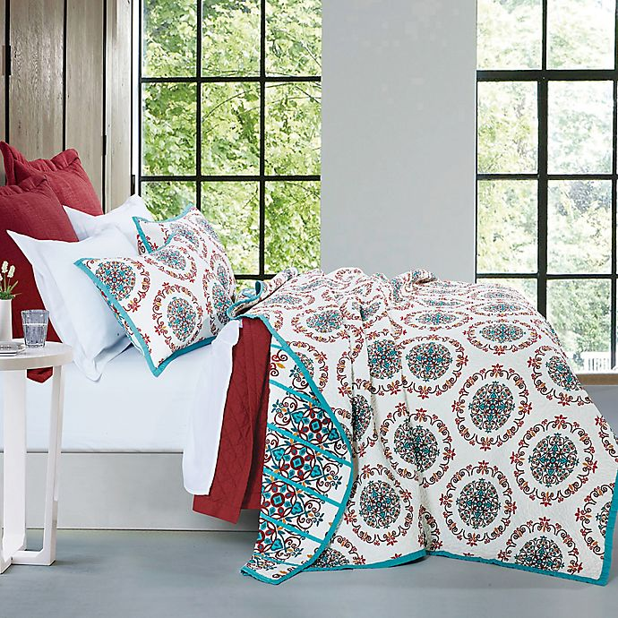Alternate image 1 for HiEnd Accents Sonara Reversible Full/Queen Quilt Set in Teal