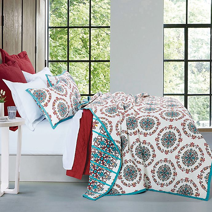 Alternate image 1 for HiEnd Accents Sonara Reversible King Quilt Set in Teal