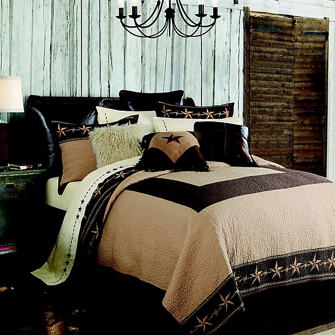 Alternate image 1 for HiEnd Accents Star Ranch Reversible Full/Queen Quilt Set in Brown