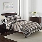 Grant Stripe 3-Piece Reversible King Comforter Set in Brown