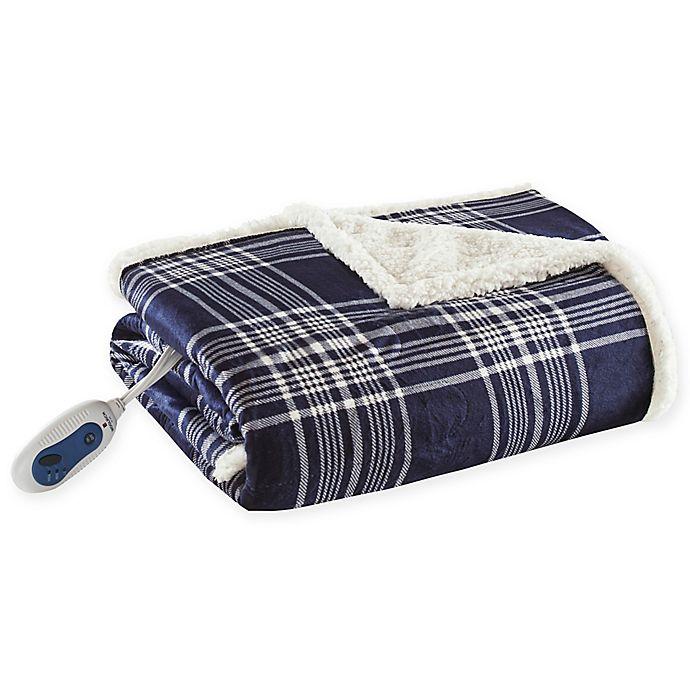 Alternate image 1 for Woolrich® Leeds Oversized Heated Mink/Berber Reversible Throw Blanket in Navy