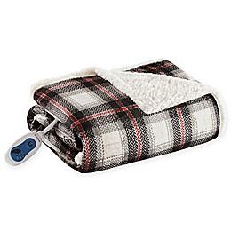 Woolrich® Ridley Oversized Heated Mink/Berber Reversible Throw Blanket in Black/Red