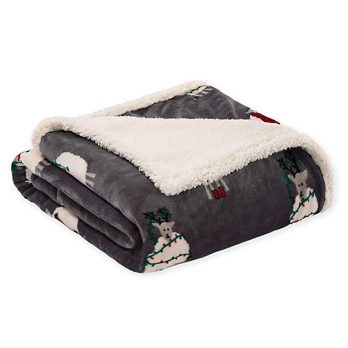 Alternate image 1 for ED Ellen DeGeneres Sheep Plush Throw Blanket in Charcoal
