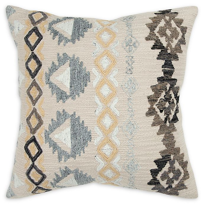 Alternate image 1 for Rizzy Home Textured Tribal-Inspired Square Throw Pillow in Natural