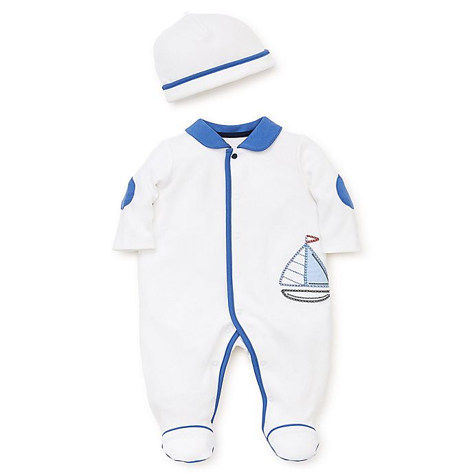 Alternate image 1 for Little Me® Cool Sailing 2-Piece Footie and Cap Set in White