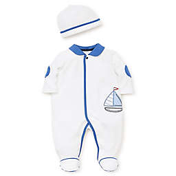 Little Me® Cool Sailing 2-Piece Footie and Cap Set in White