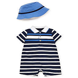 Little Me® Preppy Stripe 2-Piece Romper and Hat Set in Navy