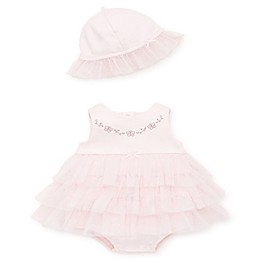 Little Me 2-Piece Bubble Tiered Bodysuit and Hat Set in Pink