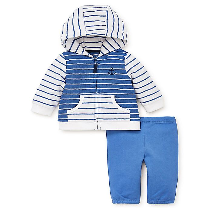 Alternate image 1 for Little Me® Size 3M French Terry 2-Piece Hoodie Jacket and Pant Set in Blue