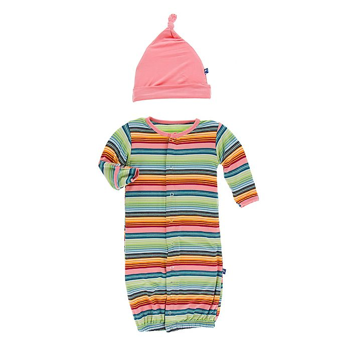 Alternate image 1 for KicKee Pants® Newborn Strawberry Stripe Convertible Gown and Hat Set