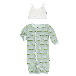 Kickee Pants® Newborn 2-Piece Aloe Ruffle Gown and Hat Set in Green