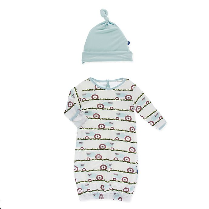 Alternate image 1 for KicKee Pants® Newborn Tractor in Grass 2-Piece Layette Gown and Cap Set