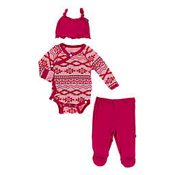 KicKee Pants® 3-Piece Strawberry Mayan Ruffle Kimono Bodysuit, Pant, and Hat Set