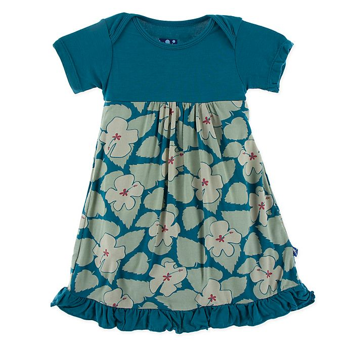Alternate image 1 for KicKee Pants® Oasis Hibiscus Dress in Blue