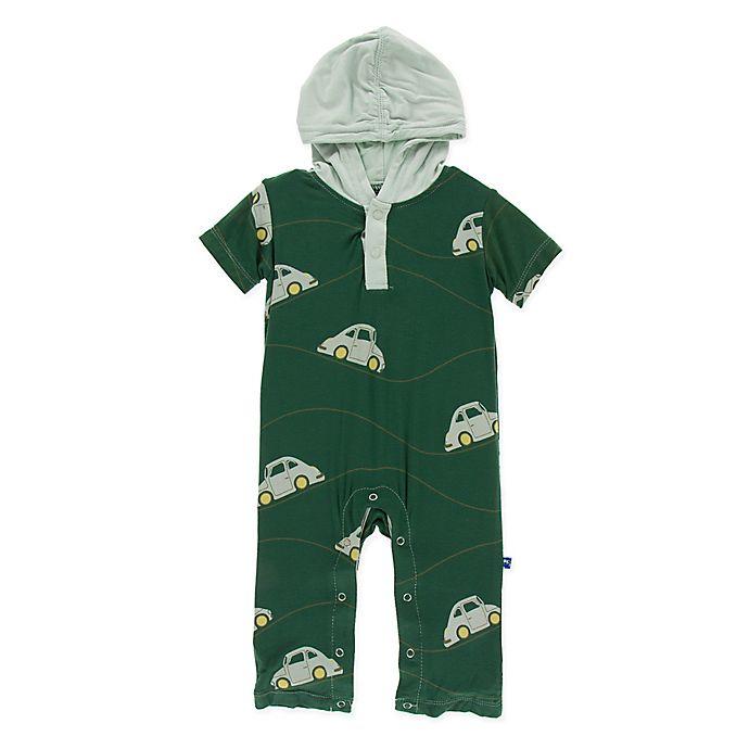 Alternate image 1 for KicKee Pants® Newborn Car Hoodie Romper in Green