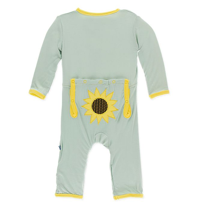Alternate image 1 for KicKee Pants® Size 0-3M Sunflower Coverall in Green