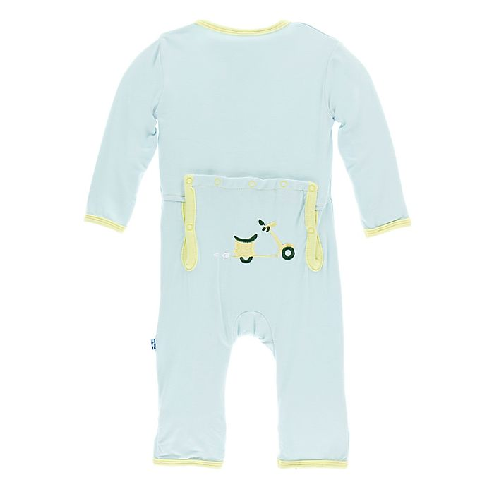 Alternate image 1 for KicKee Pants® Newborn Scooter Butt Coverall in Blue