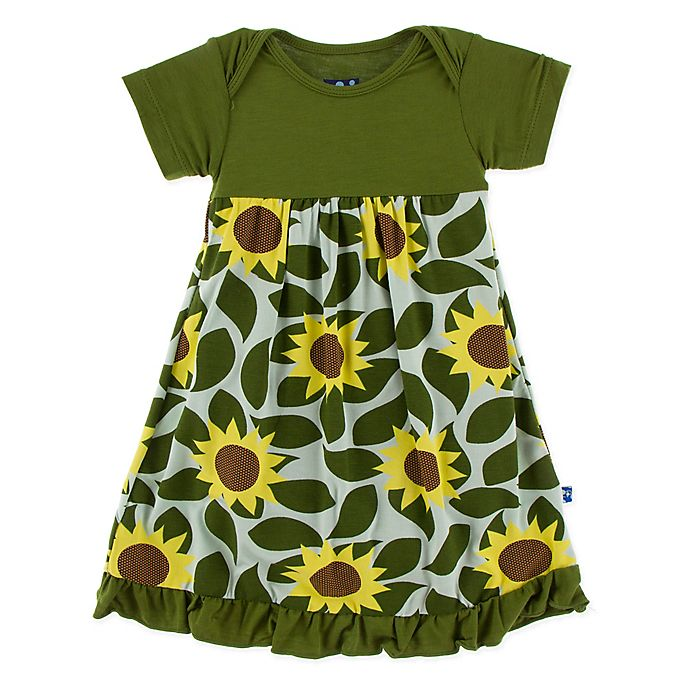 Alternate image 1 for KicKee Pants® Size 0-3M Sunflower Dress in Green