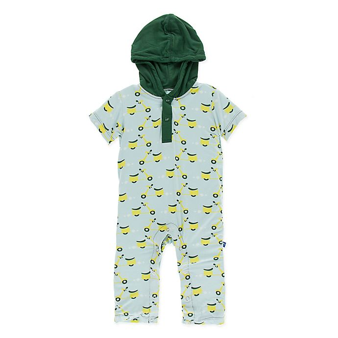 Alternate image 1 for KicKee Pants® Size 0-3M Sky Scooter Hoodie Romper in Green