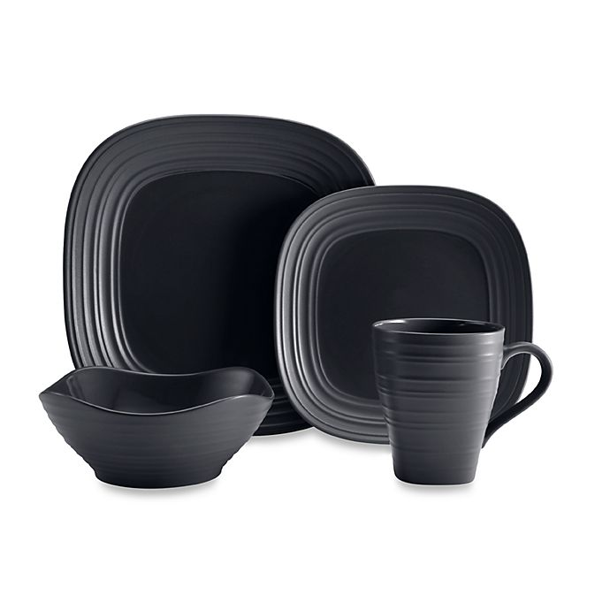 Alternate image 1 for Mikasa® Swirl Square Dinnerware Collection in Graphite