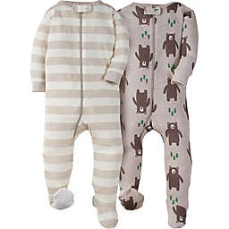 Gerber® 2-Pack Bear Footies in Oatmeal