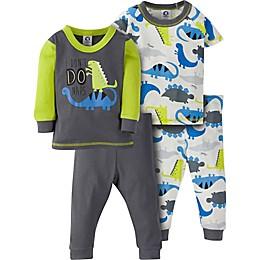 Gerber® 4-Piece Dino Pajama Set in Grey/Green
