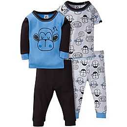 Gerber® 4-Piece Hello Monkey Pajama Set in Blue/Black