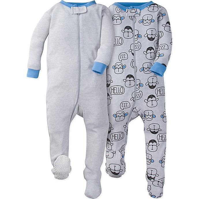 Alternate image 1 for Gerber® 2-Pack Monkey Footies in Grey