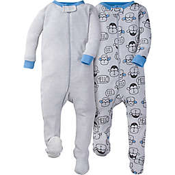 Gerber® 2-Pack Monkey Footies in Grey