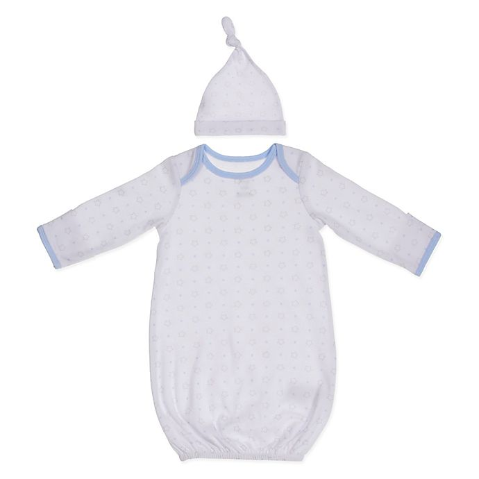 Alternate image 1 for Sterling Baby 2-Piece Stars Gown and Hat Set in Blue