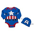 Marvel® Size 0-3M 2-Piece Captain America Bodysuit and Hat Set