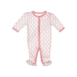 Sterling Baby Chains Footie in Coral Pink