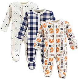 Hudson Baby® Preemie 3-Pack Forest Sleep N' Play Footies in Beige