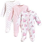 Hudson Baby® Preemie 3-Pack Floral Sleep N' Play Footies in Pink