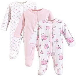 Hudson Baby® Preemie 3-Pack Floral Sleep N' Play Footies in Pink