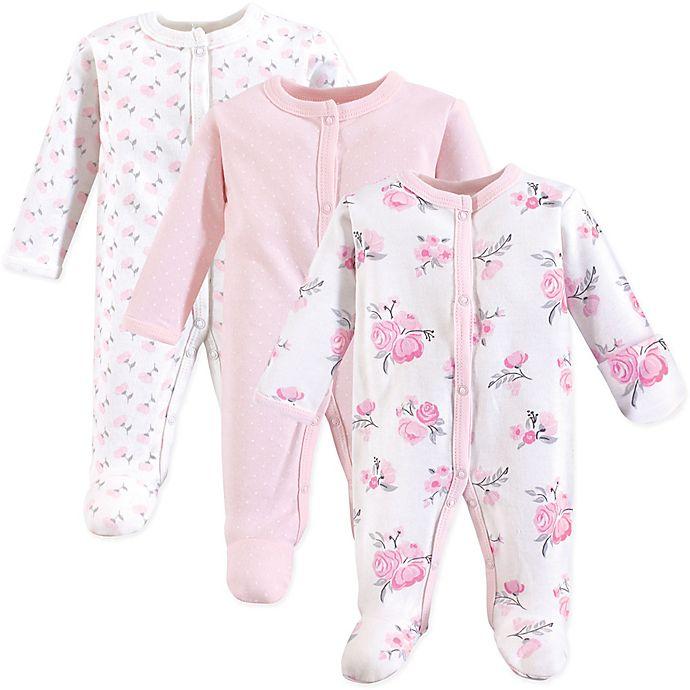 Alternate image 1 for Hudson Baby® Preemie 3-Pack Floral Sleep N' Play Footies in Pink