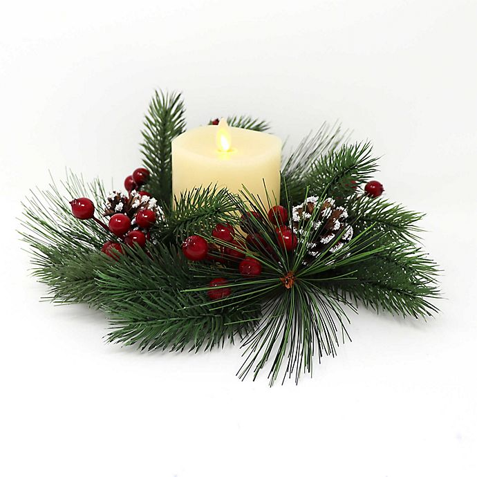 Luminara Holiday Wreath Inch Real Frame Effect Flame Pillar Candle Bed Bath Amp Beyond