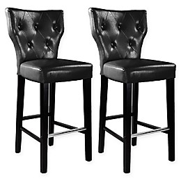 """Corliving™ Kings Leather 31"""" Bar Stools in Black (Set of 2)"""