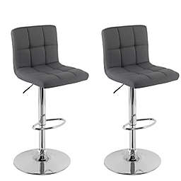 "Corliving™ Polyester Swivel 33"" Bar Stools in Dark Grey(Set of 2)"