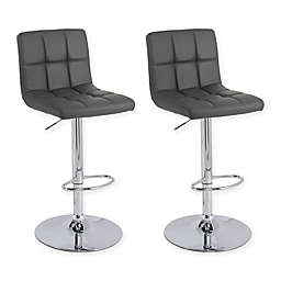 "Corliving™ Leather Swivel 33"" Bar Stools in Dark Grey(Set of 2)"