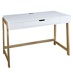 American Trails® Neorustic Desk with 4 USB Ports in White/Natural