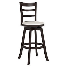 Corliving™ Faux Leather Swivel Woodgrove Bar Stool in Espresso