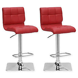 "Corliving™ Leather Swivel 33"" Bar Stools (Set of 2)"