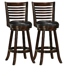Corliving™ Faux Leather Swivel Woodgrove Bar Stools (Set of 2)