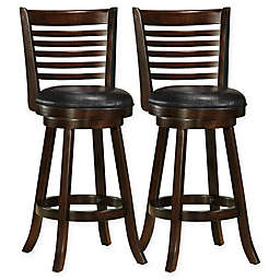 Corliving™ Faux Leather Swivel Woodgrove Bar Stools (Set of 2)