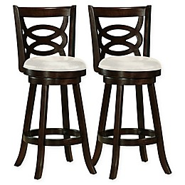 Corliving™ Faux Leather Swivel Bar Stools in Cappuccino(Set of 2)