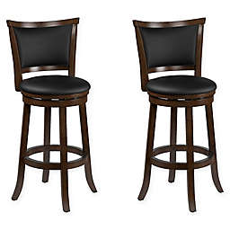 Corliving™ Leather Swivel Woodgrove Bar Stools in Brown(Set of 2)