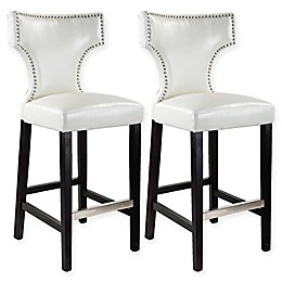 Corliving™ Leather Upholstered Kings Bar Stools (Set of 2)