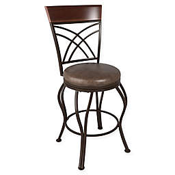 Corliving™ Leather Swivel Jericho Bar Stool in Rustic Brown